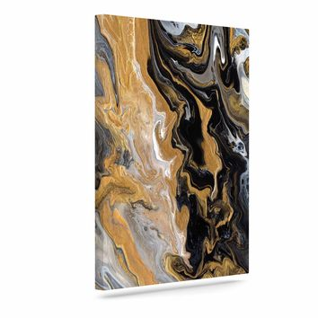 "Catherine Holcombe ""Gold Vein Marble"" Black Gold Abstract Geological Painting Art Canvas"