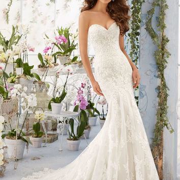 Embroidered Lace Appliques on Net Over Soft Satin with Scalloped Hemline Morilee Bridal Wedding Dress | Style 5413 | Morilee