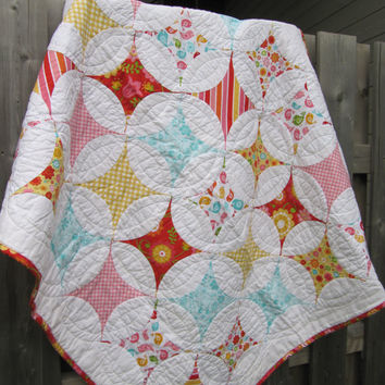 Baby girl toddler handmade quilt circle star orange peel modern