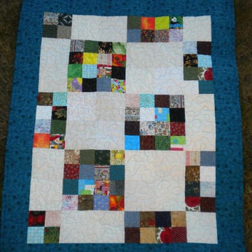 "Scrappy Patchwork Quilt, Multicolor rainbow quilt, 38"" x 48"", Bright Baby Quilt, Wheelchair Lap Quilt, Scrappy Quilt, small lap blanket"