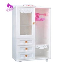 Dollhouse Furniture Wardrobe Closet and Hangers for Barbie Doll Clothes Accessories Wardrobe and Hangers for Barbie Set