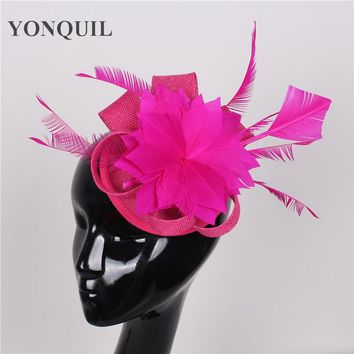 High quality 17 colors hot pink hair clip fascinator with feather sinamay fascinators hats women wedding hairbands occasion hats