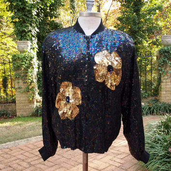 Vintage 80's Bomber Jacket Peacock Hip Hop Disco Iridescent Sequined Zip Front with Giant Gold Flowers Size L