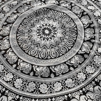 Cupshe Black And White Elephant Tapestry