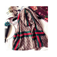 GUCCI Fashion Women Easy to match Silk Scarf F
