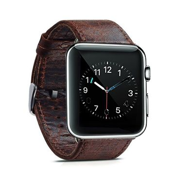 Apple watch band 42m,Genuine Leather 42mm Replacement band with Secure Metal Clasp Buckle for Apple Watch Sport Edition . (Light