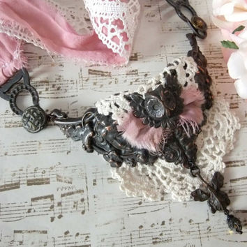 Midnight Garden, Black Ox Victorian Repousse, Garters, Vintage Buttons, Owl, Lace & Silk Sari Ribbon Necklace