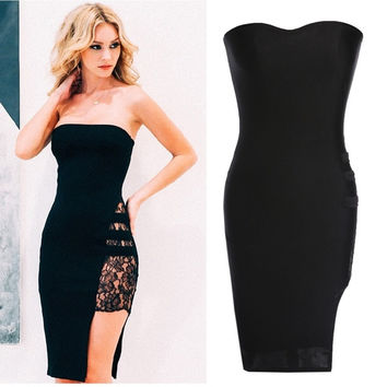Bodycon Lace Strapless Dress Side Slit Sexy Party Sleeveless Elegant Black  W_C = 1956700804
