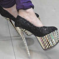 Cool Black Super Party Queen Platform Studded Spike Glitter Lace High Heels