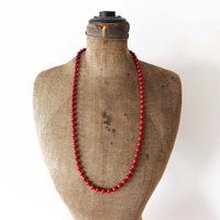 Chunky Red Bead Necklace - Red Beaded Necklace - Long Red Necklace - Red and Black Necklace - Red and Black Bead Necklace