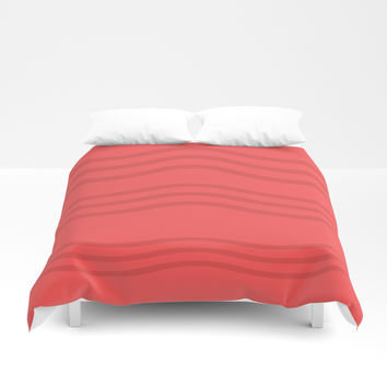 African Roots Coral Theme b Duvet Cover by carmenrayanderson
