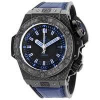 Hublot King Power Oceanographic Black Dial Blue Rubber Mens Watch