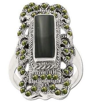 Sterling Silver Genuine 40 Marcasite & Onyx Filigree Ring