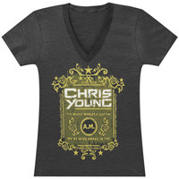 Chris Young  The Whole World's A Sleepin Girls Jr Tissue Tee Heather Charcoal