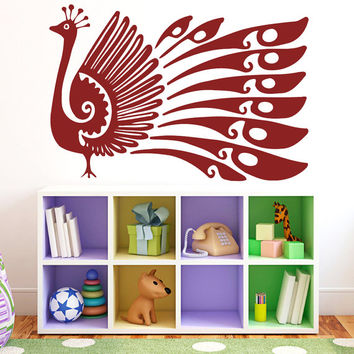 Peacock With Long Tail Vinyl Decals Wall Sticker Art Design Kids Children Nursery Room Nice Picture Home Decor Interior ki688