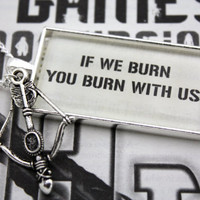 Hunger Games ''If We Burn You Burn With Us'' Book Page Necklace