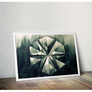 Reiki Charged Forest Geometric Circle Mandala Polyscape Poster Yoga Meditation Mandala Art Woods Design No Frame
