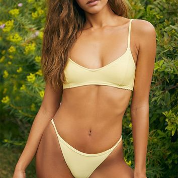 LA Hearts Yellow Pearl Ribbed Cropped Bikini Top | PacSun