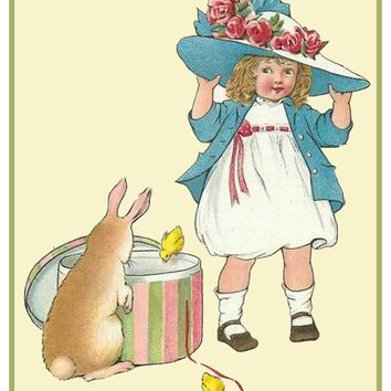Vintage Easter Young Girl with New Easter Bonnet Bunny Counted Cross Stitch Pattern