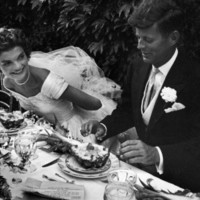 Senator John F. Kennedy and Bride Jacqueline Enjoying Dinner at Their Outdoor Wedding Celebration Photographic Print by Lisa Larsen at AllPosters.com