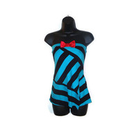 Bold Black and Blue Striped Reconstructed Kawaii Girly Punk Tube Top with Pink Satin Front Bow