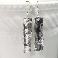 Hammered Silver Bar Earrings