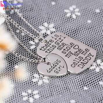 SUSENSTONE 2PC Family Charm Gifts Heart Love Hot Necklace pendant Daughter Dad Mother