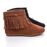 Cherokee01 by Nature Breeze, Round Toe Braid Fringe Flat Moccasin Ankle Boots