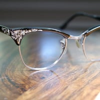 Vintage Black, Gold and Silver Cat Eyeglasses 1950s Universal 44/20 Beautiful Design Gold Filled Mid Century Modern
