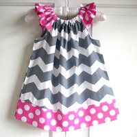 Baby clothes girl clothes kids childrens clothes girls dress grey chevron with pink dots