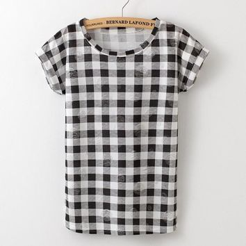 Summer Checker Board T  Rolled Short Sleeve One Size