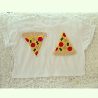 White Pizza Embellished Summer Crop Top