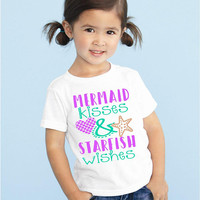 Mermaid kisses and starfish wishes graphic tee, children's Tshirt. Sizes 2T, 3t, 4t, 5/6T funny graphic kids shirt