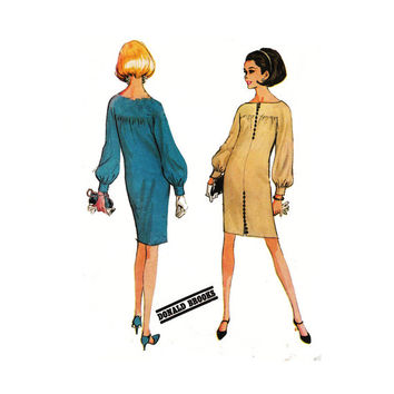 "1960's McCall's 8540 Woman's Shift Dress with Yoke and Button Detail Size 14 || Bust 34""/ 86cm 