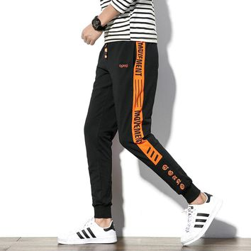 Brand New Casual Pants Men 2017 Autumn Hot Sale Cotton Slim Fit Men's Joggers Fashion Striped Letter Print Track Sweatpants 5XL