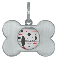 Good Boy Black and Red Abstract Dog Tag