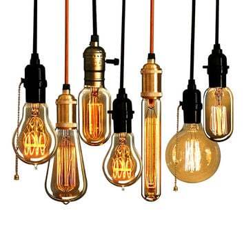 Retro Edison Bulb Chandelier Pendant Lights Squirrel-cage Filament E27 Edison Lamp Holder Incandescent Bulb Light Rope Lamp