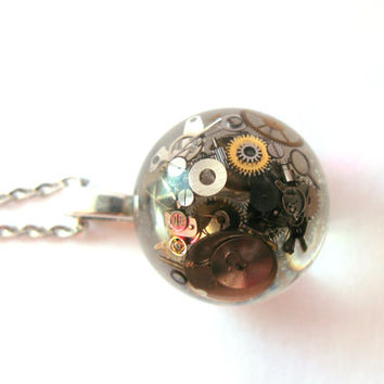 Steampunk Watch Parts Resin Pendant Necklace Sphere - real watch parts encased in resin orb