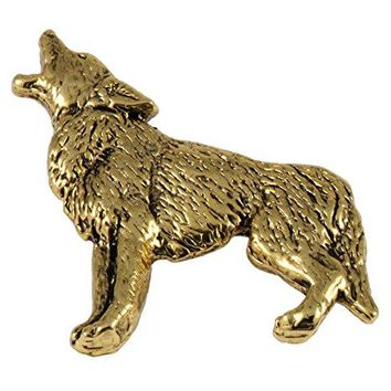 Creative Pewter Designs Pewter Coyote Full Body Handcrafted Lapel Pin Brooch M046