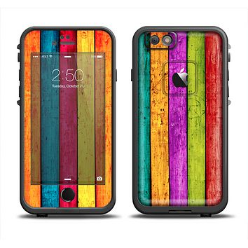 The Neon Wood Planks Skin Set for the Apple iPhone 6 LifeProof Fre Case