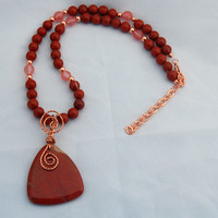 Red Jasper Rose Quartz & Copper Necklace - Copper Wire Wrapped Pendant - Pendant - Statement - Triangle Pendant