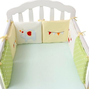 6Pcs/12Pcs Cotton Crib Bumper Cartoon Bed Bumper Baby Bumper in the Crib Fox Elephant Newborn Durable Bedding Set for Boys Girls