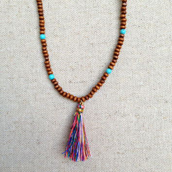 The Guadalupe-Wooden Beaded Necklace with Tassel Pendant