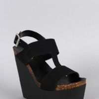 Soda Leatherette Snake Embossed Slingback Platform Wedge