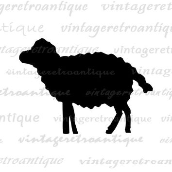 Sheep Printable Image Digital Sheep Silhouette Graphic Farm Animal Shape Lamb Download Vintage Clip Art for Transfers etc HQ 300dpi No.4694