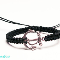 Anchor Bracelet, Nautical Theme, Black Macrame Hemp Bracelet, Adjustable Size, Sailor, Gifts for Her