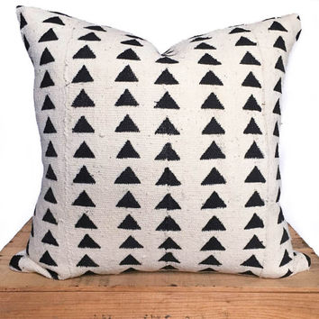 White African Mud Cloth Pillow Cover