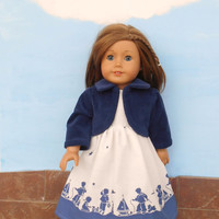 18 Inch Doll Clothes, Summer Dress with Jacket, White and Blue Dress with a Navy Blue Jacket, Summer Doll Clothes