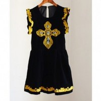 Buy Vintage Baroque Style Rhinestone Embellished Embroidered Cross Sleeveless Velvet Dress Black with cheapest price|wholesale-dress.net