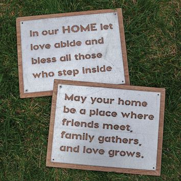 In Our Home Wood and Metal Signs